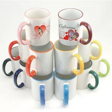 Keramiktasse RIM & HANDLE mit farbigen Rand und Henkel