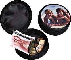 Mini-Geldbörse, Farbe Schwarz, Ø 90 mm