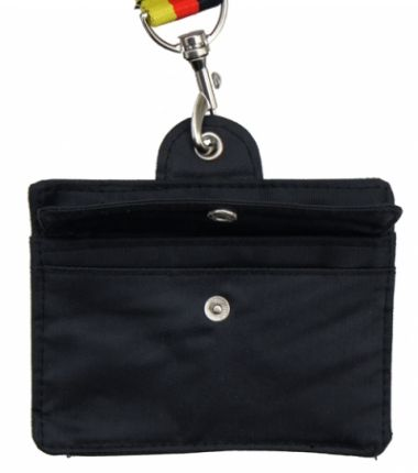 Black mini-case for lanyards - with window and 2 compartments