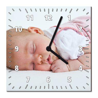 Hartfaser-Wanduhr quadratisch mit Uhrwerk und Zeiger