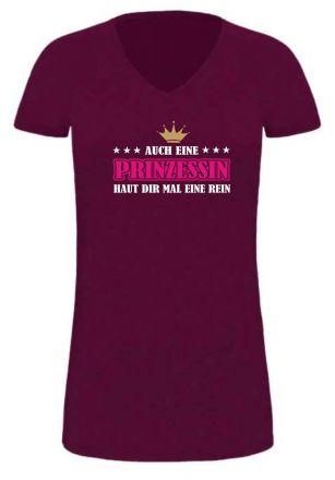 Lady LONG Shirt mit Druck Auch eine Prinzessin haut dir mal eine