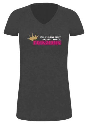 Lady LONG Shirt mit Druck Ich schmeiss alles hin und werde Prinz