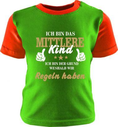 Baby und Kinder Shirt kurzarm Multicolor Ich bin das mittlere Kind