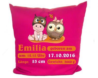 Kissen 40x40 cm Kleiner Fratz & Friends Eule mit Geburtsdaten