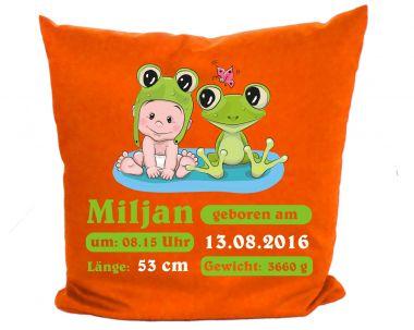 Kissenbezug 40 x 40 cm Motiv Kleiner Fratz & Friends (Frosch) mit Geburtsdaten