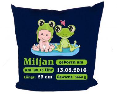 Kissen 40x40 cm Kleiner Fratz & Friends Frosch mit Geburtsdaten