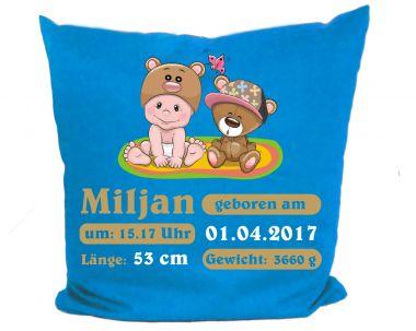 Kissenbezug 40 x 40 cm Motiv Kleiner Fratz & Friends (Teddy) mit Geburtsdaten