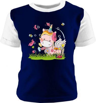 Baby und Kinder Shirt kurzarm Multicolor Kleiner Fratz & Friends Einhorn Rosa