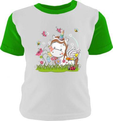 Baby und Kinder Shirt kurzarm Multicolor Kleiner Fratz & Friends Einhorn Weiss