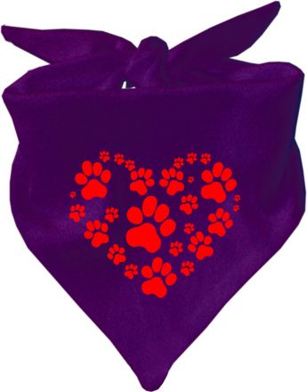 Dreieckstuch Hundehalstuch Herz aus Pfoten