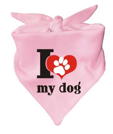 Dog triangular scarf i love my dog