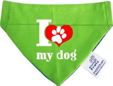 Hunde Durchzugs-Halstuch gestreift  I love my dog