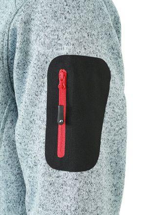Unisex Strickfleece Jacke mit Stehkragen