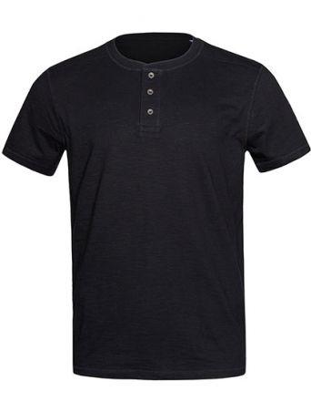 Shawn Henley T-Shirt mit Metallknöpfen