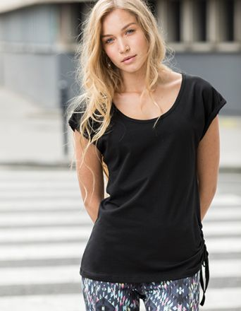 Ladies Slounge T Shirt Top mit Zugband auf der linken Seite