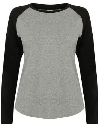 Lady langarm Baseball T-Shirt