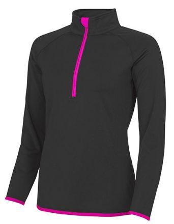Ladie Sweat Shirt mit 1/2 Reißverschuss