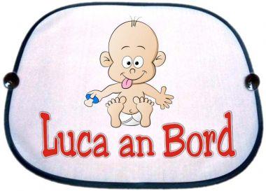 Sonnenblende Motiv Baby blauer Nuckel und Namen des Babys