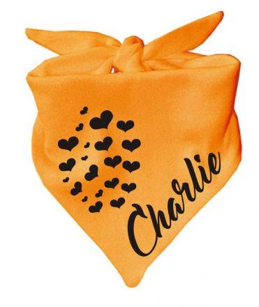 Dreieck Tierhalstuch mit Herzen + Name des Tieres (Design 1) / Hundehalstuch