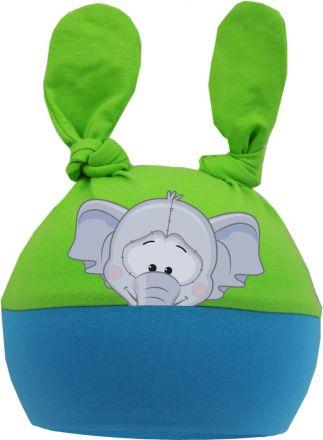 2-Zipfel Baby Mütze Multicolor Sweet Animals ELEFANT