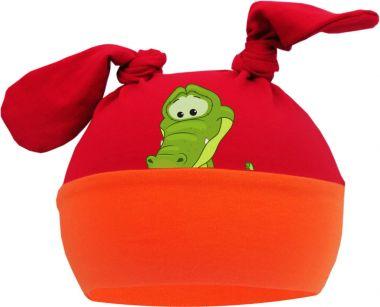 2-Zipfel Baby Mütze Multicolor Sweet Animals Krokodil