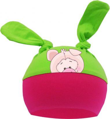 2-Zipfel Baby Mütze Multicolor Sweet Animals SCHWEIN