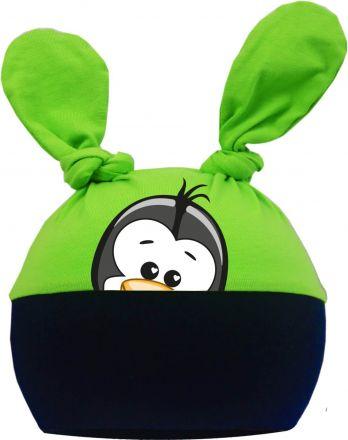 2-Zipfel Baby Mütze Multicolor Sweet Animals Pinguin