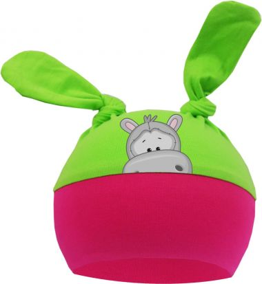 2-Zipfel Baby Mütze Multicolor Sweet Animals NILPFERD