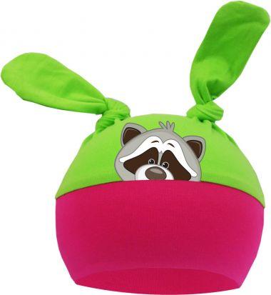 2-Zipfel Baby Mütze Multicolor Sweet Animals WASCHBÄR