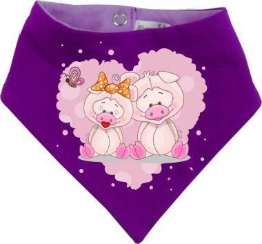 Baby Wende-Halstuch Multicolor Sweet Animal Paar Schwein