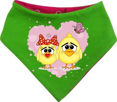 Baby Wende-Halstuch Multicolor Sweet Animal Paar Huhn