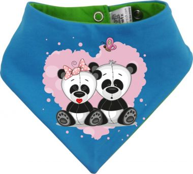 Baby Wende-Halstuch Multicolor Sweet Animal Paar Panda