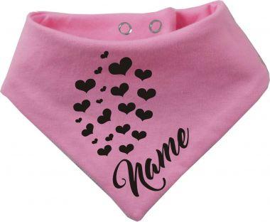 Tier Wende-Halstuch einfarbig mit Design 1 Herzen und Name
