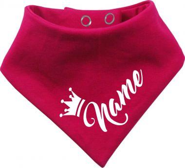Tier Wende-Halstuch einfarbig mit Design 4 Krone und Name