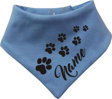 Tier Wende-Halstuch einfarbig mit Design 6 Pfoten und Name