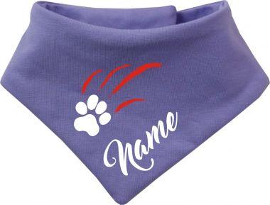 Tier Wende-Halstuch einfarbig mit Design 2 Pfotenkratzer und Name