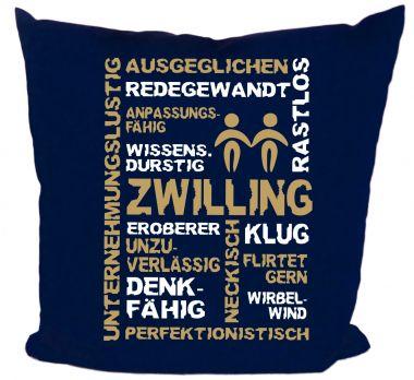Kissen 40x40 cm Baumwolle Sternzeichen Zwilling