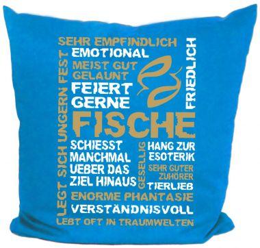Kissen 40x40 cm Baumwolle Sternzeichen Fische