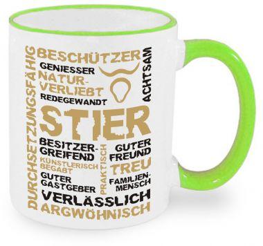 Keramiktasse RIM & HANDLE (farbiger Rand + Henkel) mit Sternzeichen Stier