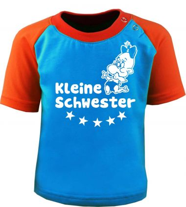 Baby und Kinder Kurzarm Baseball T-Shirt -  Kleine Schwester -