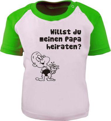 Baby und Kinder Kurzarm Baseball T-Shirt -  Willst du meinen Papa heiraten -