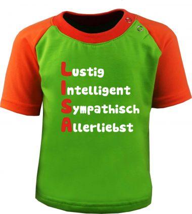 Baby und Kinder Kurzarm Baseball T-Shirt -  Mit Namen und Eigenschaften des Kindes -