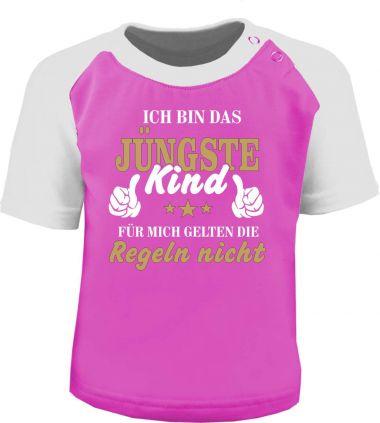 Baby und Kinder Kurzarm Baseball T-Shirt -  Ich bin das Jüngste Kind -