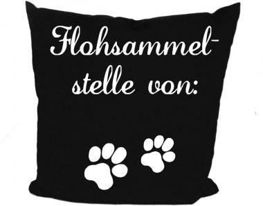 Hunde Kissen 40x40 cm Flohsammelstelle und Namen