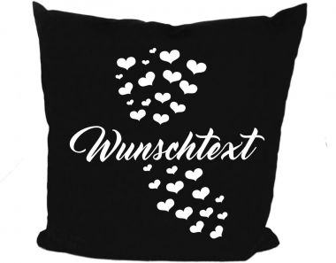Cushion 40 x 40 cm cotton / colored with motif Motiv Herzen and the name of the animal
