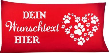 Hunde Kissen 80 x 40 cm Design 3 Pfotenherz und Namen