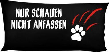 Hunde Kissen 80 x 40 cm Nur schauen nicht anfassen und Namen