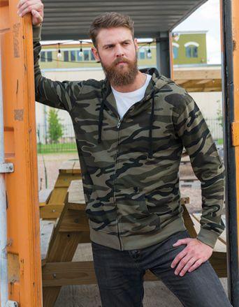 Full Zip Camouflage Kaputzen Fleece Jacke