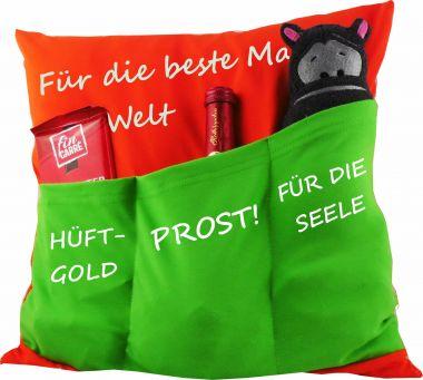 Kissen 40x40 cm Baumwolle mit 3 Taschen