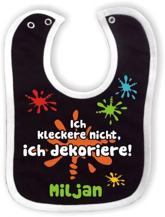 Baby Lätzchen mit farbigen Saum Ich kleckere nicht und dem Namen des Kindes